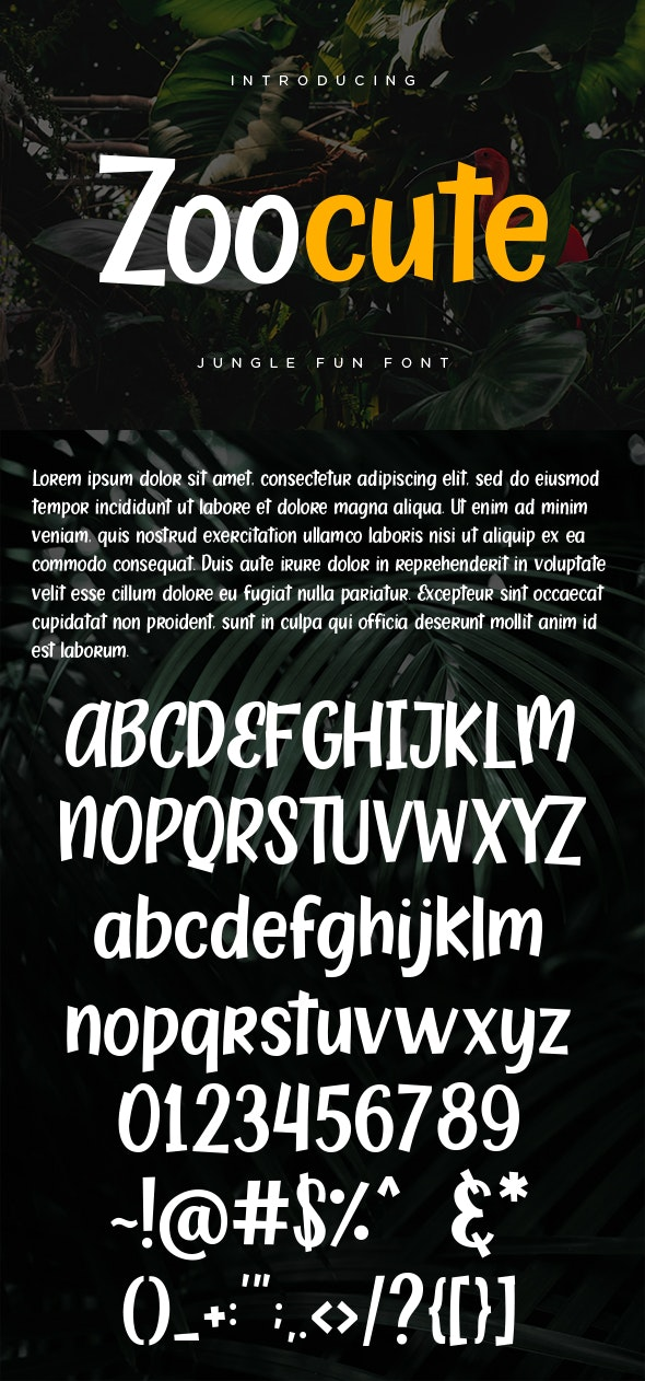 Zoocute Jungle Fun Font - Holiday Decorative