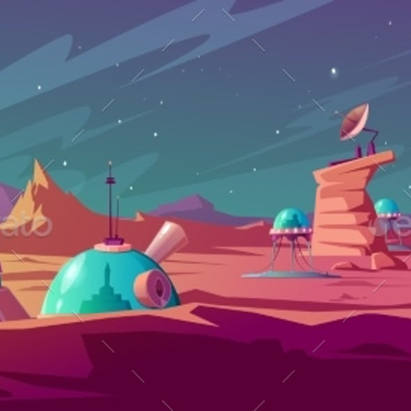Landscape of Mars Surface with Colony Buildings