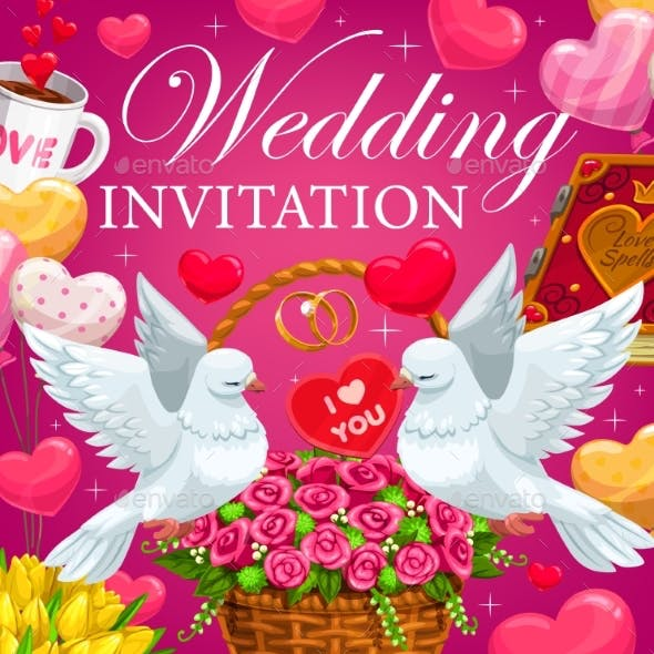 Wedding Invitation with Hearts, Flowers and Gifts