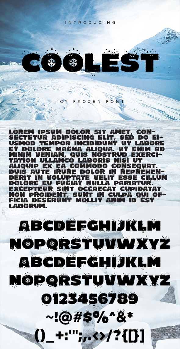 Coolest - Icy Frozen Font - Holiday Decorative