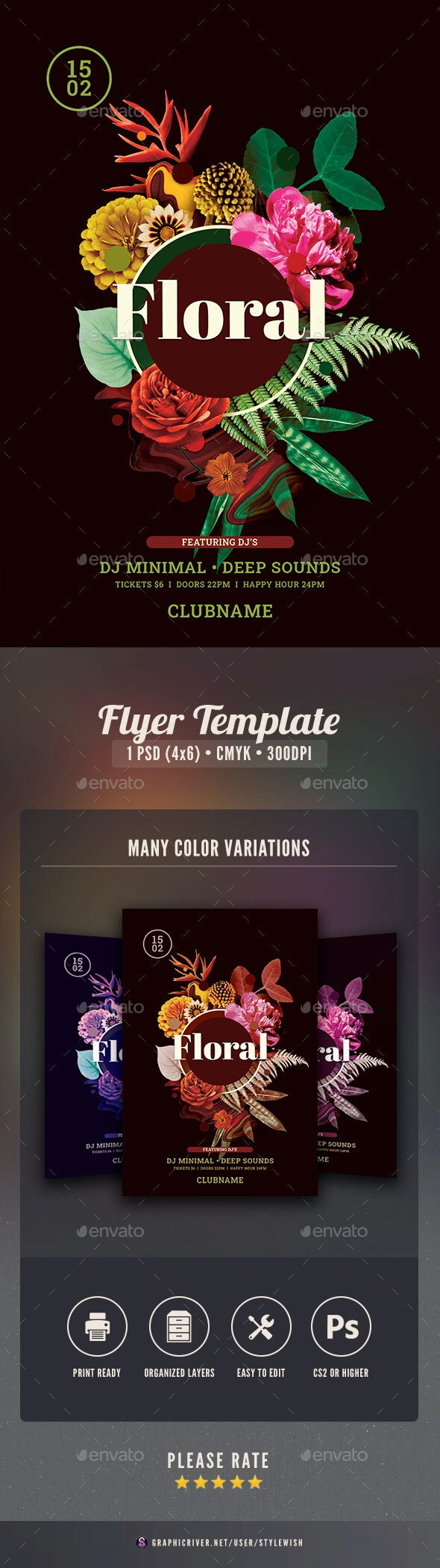 Floral Flyer - Clubs & Parties Events