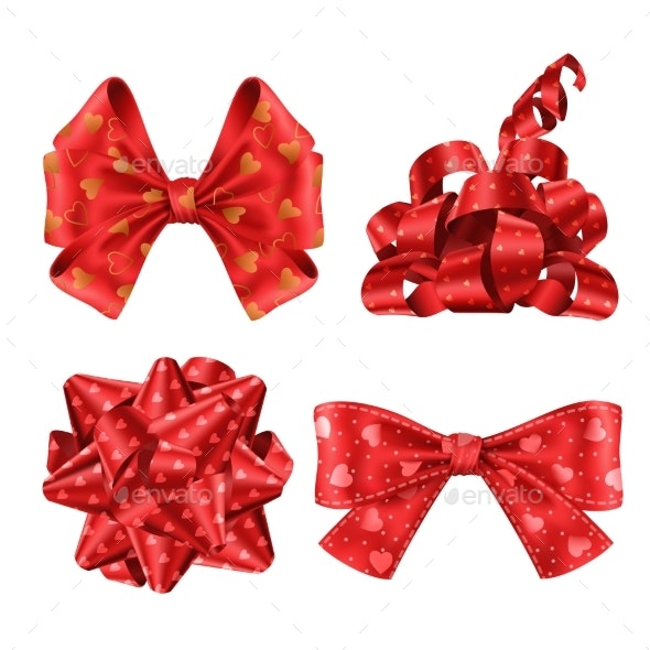 Red Ribbons and Bows Top and Side View Set - Man-made Objects Objects