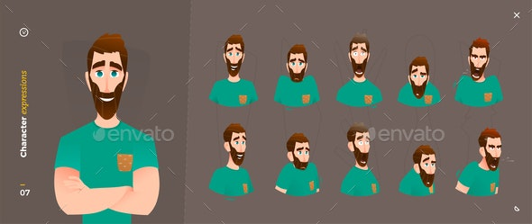 Man Cartoon Character Expressions - People Characters