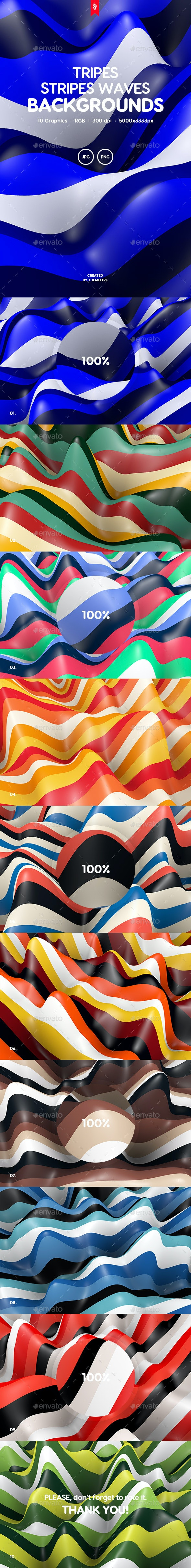 Tripes - Colored Stripes Waves Backgrounds - 3D Backgrounds