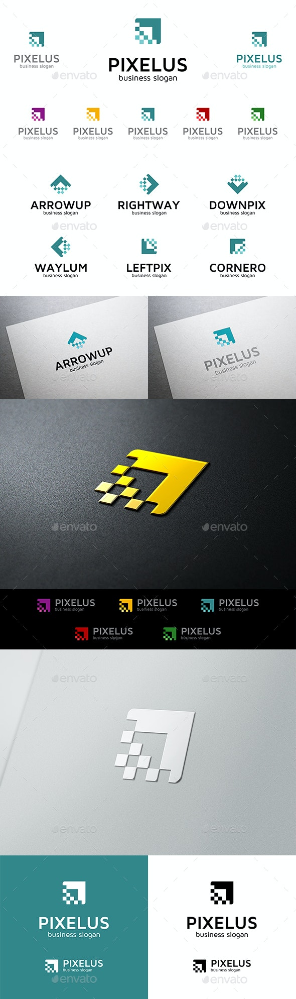 Pixelus Pixel Arrow Vector Multipurpose Logo Template for Business - Vector Abstract