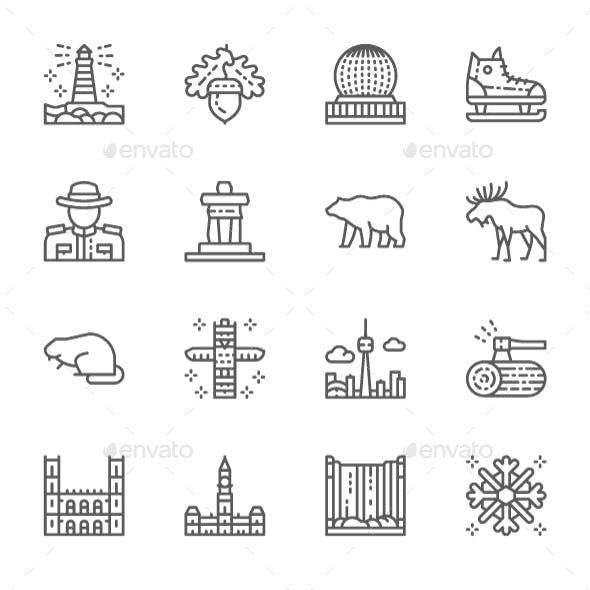 Set Of Canadian Culture Line Icons. Pack Of 64x64 Pixel Icons