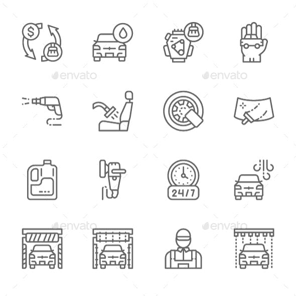 Set Of Car Wash Line Icons. Pack Of 64x64 Pixel Icons
