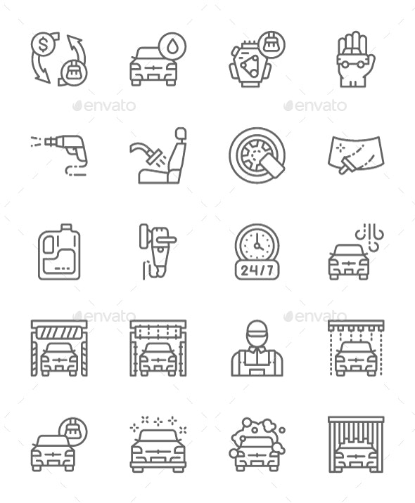 Set Of Car Wash Line Icons. Pack Of 64x64 Pixel Icons - Technology Icons