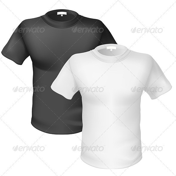 Black and white T-shirt Front View - Man-made Objects Objects