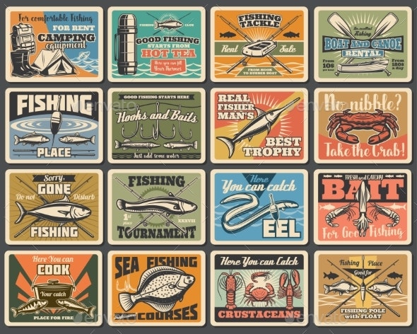 Fishing Sport, Tackles, Hooks Retro Signs - Sports/Activity Conceptual