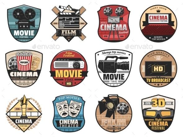 Cinema, Movie and Film Icons - Miscellaneous Vectors