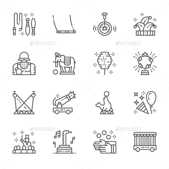 Set Of Circus  Line Icons. Pack Of 64x64 Pixel Icons