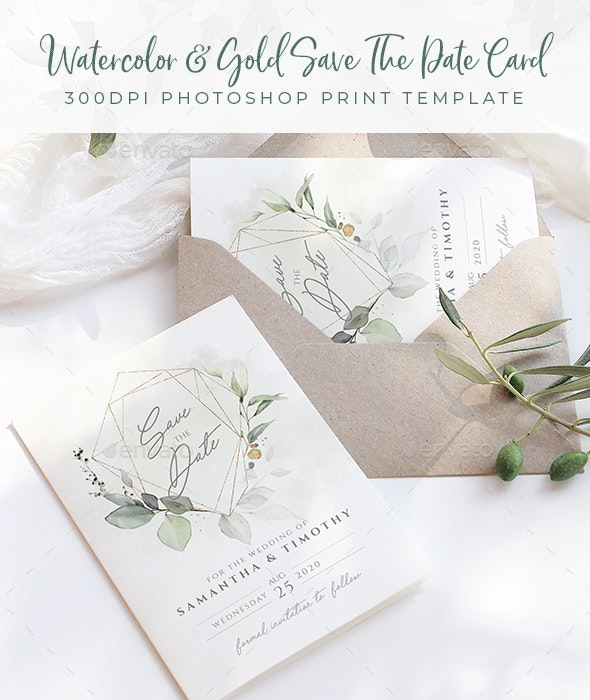 Watercolor & Gold Save The Date Card - Weddings Cards & Invites