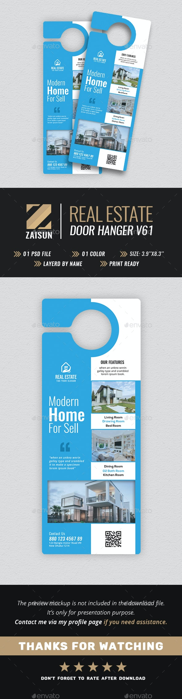 Real Estate Door Hanger V61 - Miscellaneous Print Templates