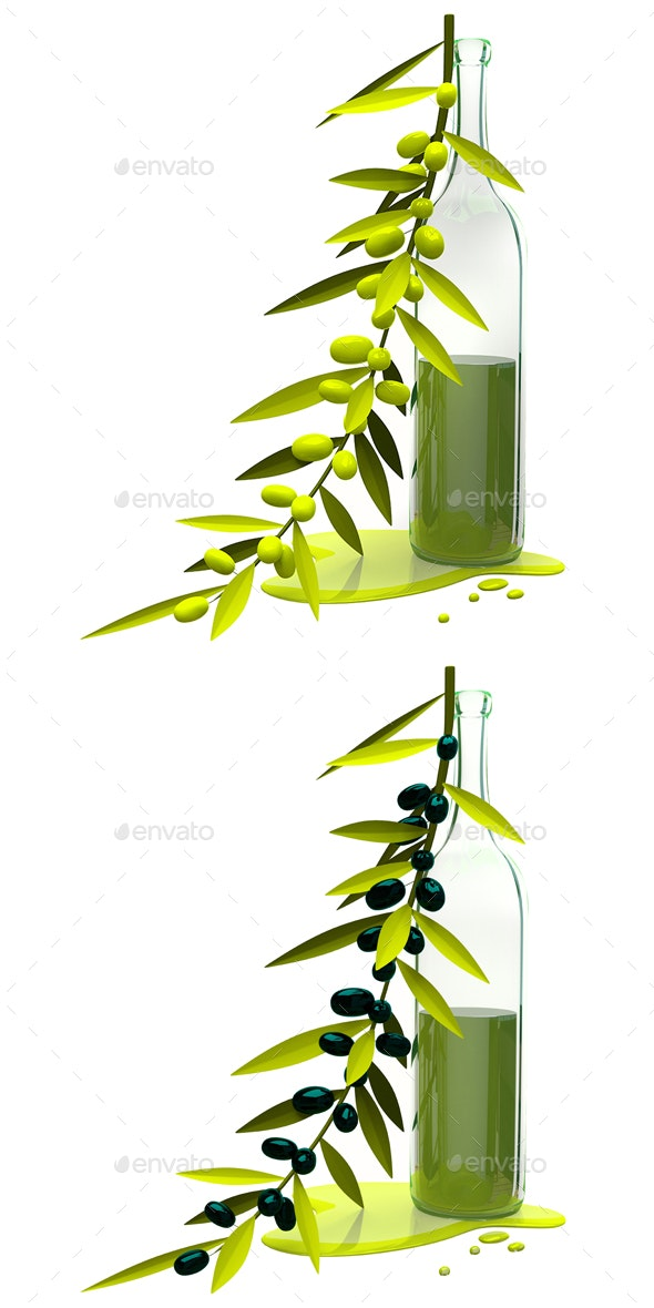 3D Illustration Olive Branch and Bottle with Oil - Objects 3D Renders