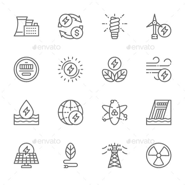 Set Of Energy Industry  Line Icons. Pack Of 64x64 Pixel Icons