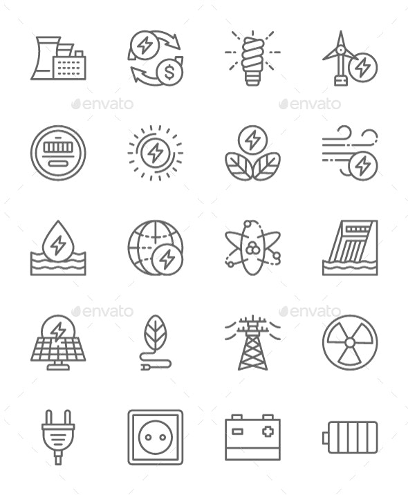 Set Of Energy Industry  Line Icons. Pack Of 64x64 Pixel Icons - Technology Icons