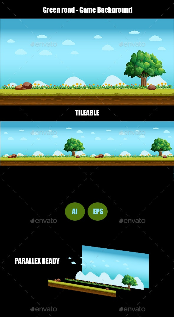 Green Road - Game Background - Backgrounds Game Assets