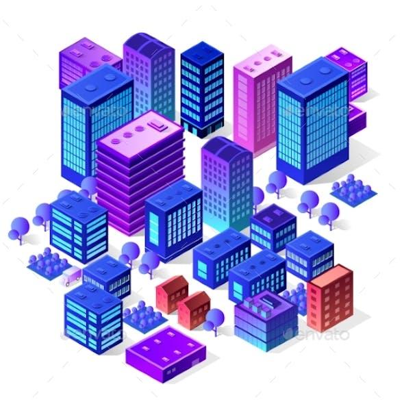Isometric City Set of Violet Colors Building