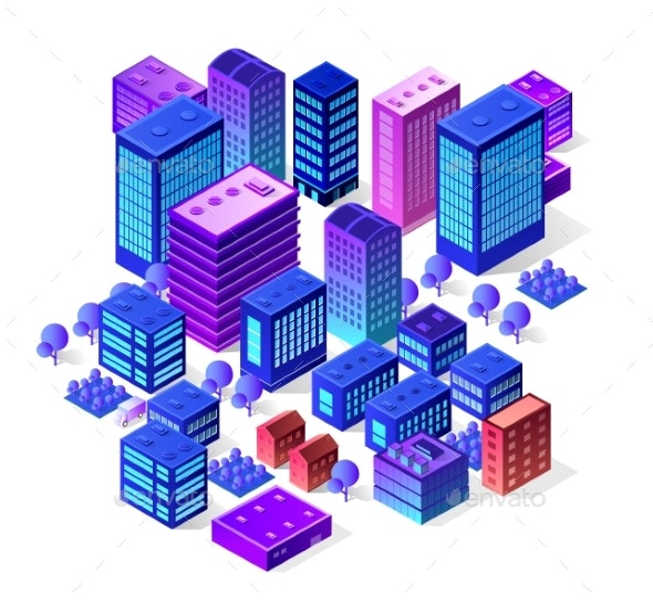 Isometric City Set of Violet Colors Building - Buildings Objects