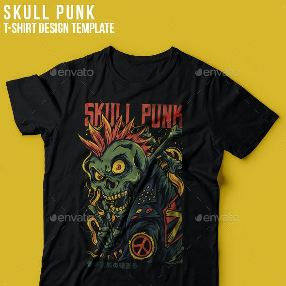 Skull Punk T-Shirt Design