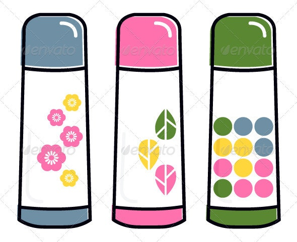 Retro thermos collection vector - Man-made Objects Objects