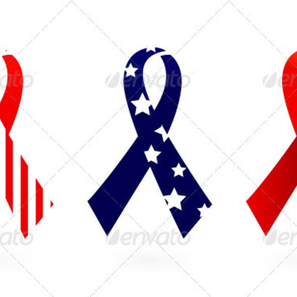 Usa flag ribbon vector isolated on white