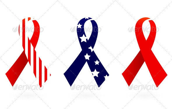 Usa flag ribbon vector isolated on white - Man-made Objects Objects