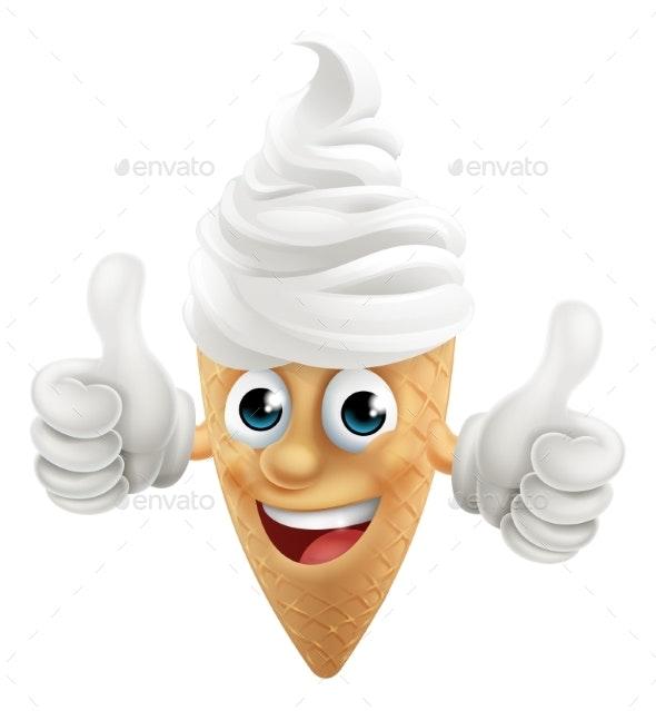 Ice Cream Cone Cartoon Character Mascot Thumbs Up - Miscellaneous Vectors