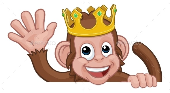 Monkey King Crown Cartoon Animal Sign Waving By Krisdog Graphicriver Download the perfect king crown pictures. https graphicriver net item monkey king crown cartoon animal sign waving 25592263