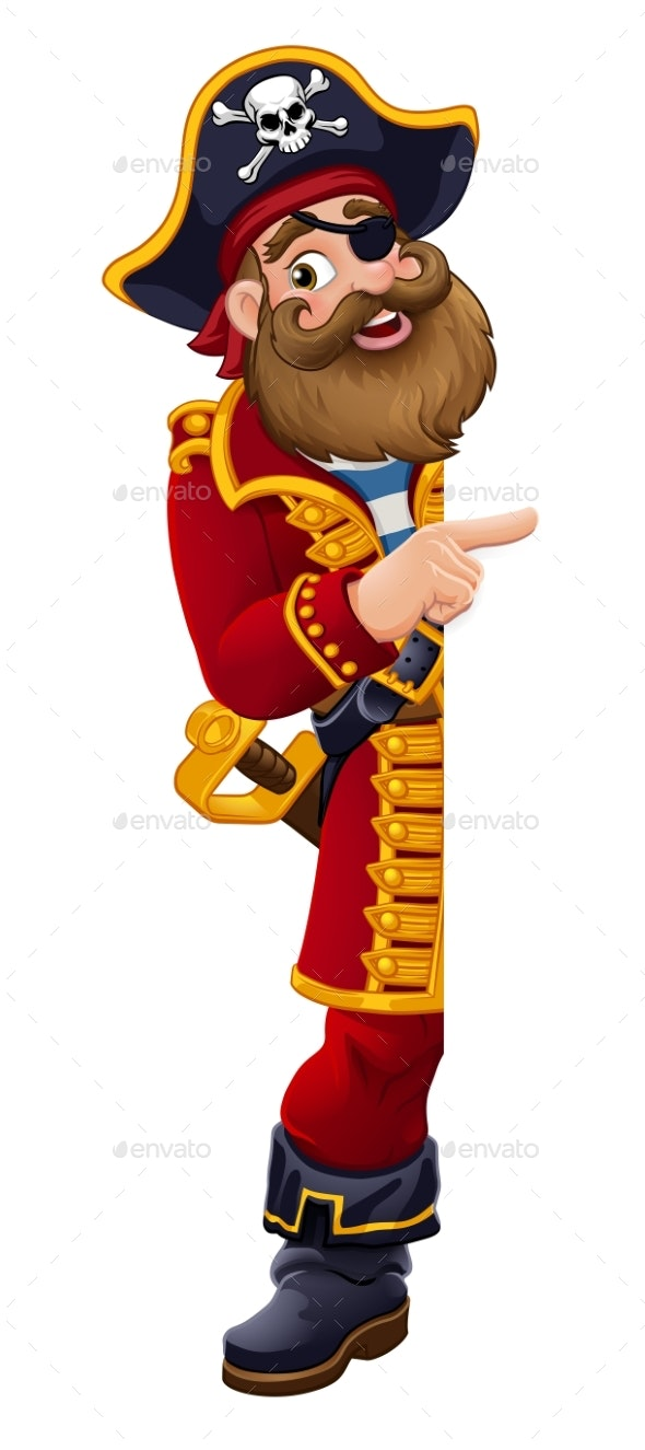 Pirate Cartoon Captain Peeking Pointing Sign - People Characters