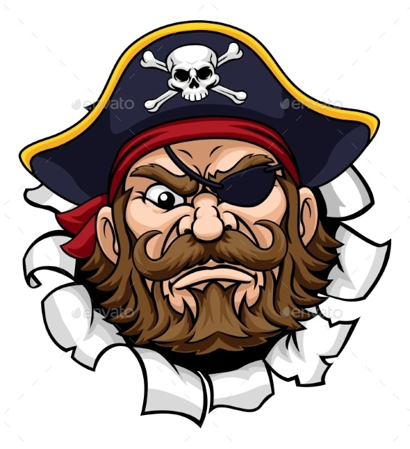 Pirate Captain Cartoon Mascot Tearing Background - People Characters