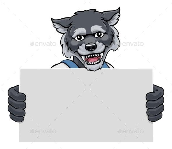 Wolf Cartoon Mascot Handyman Holding Sign - Animals Characters