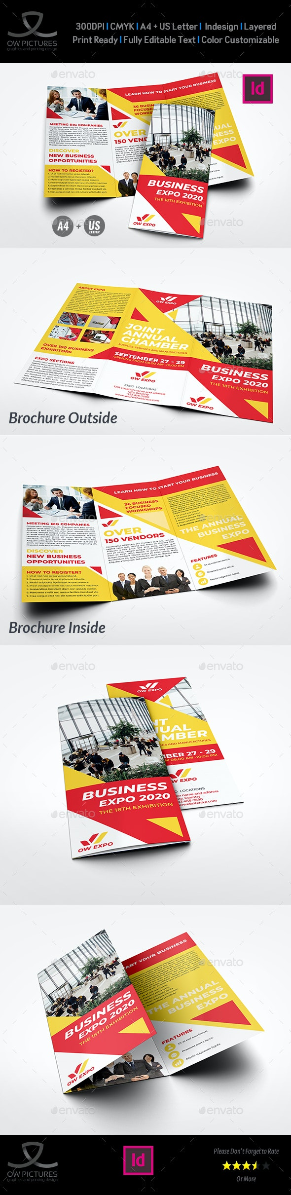 Business Exhibition Tri-Fold Brochure Template - Brochures Print Templates