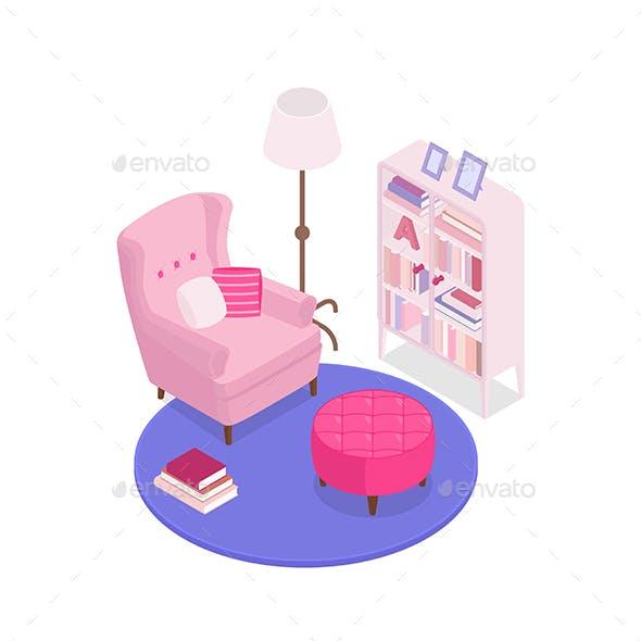 Isometric Pink Interior