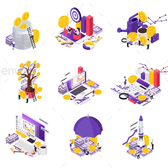 Isometric Wealth Management Icon Set