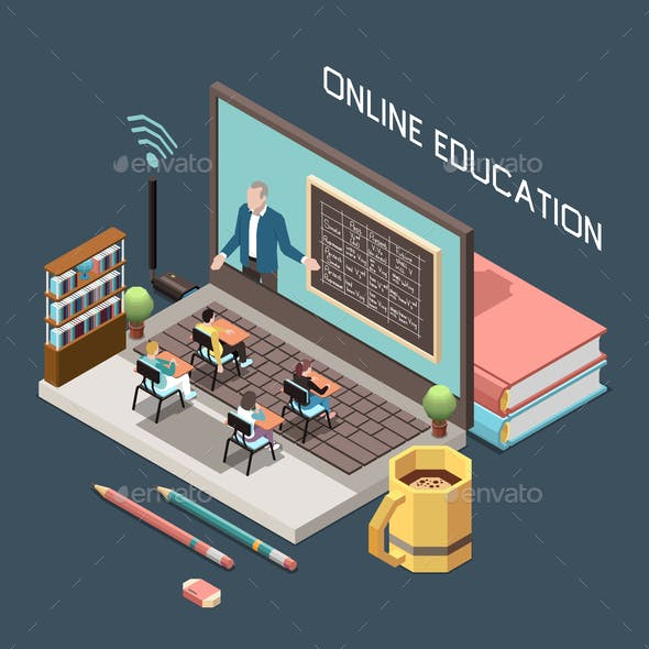 Online Education Isometric Design Concept