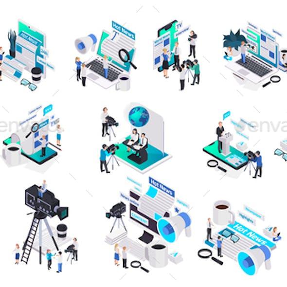 Isometric Journalistis Reporters News Media Icon Set