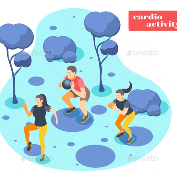 Cardio Activity Isometric Background