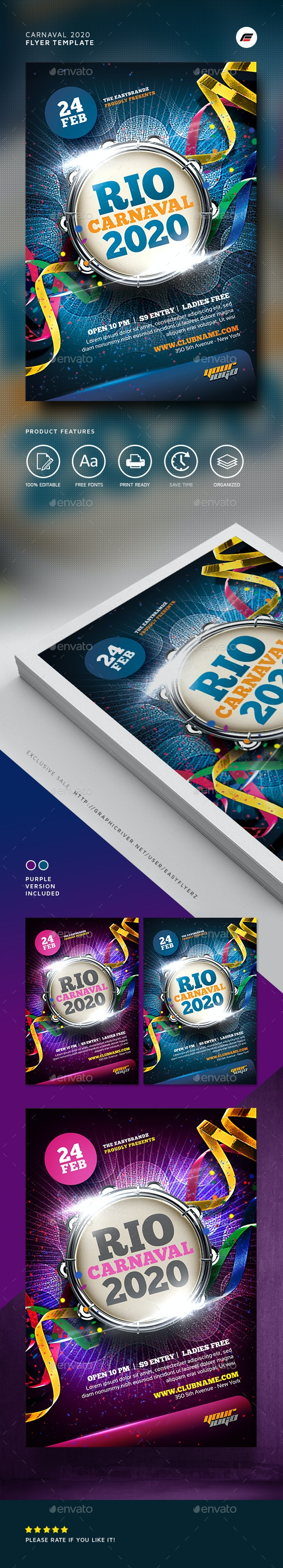 Carnaval 2020 Flyer Template - Events Flyers