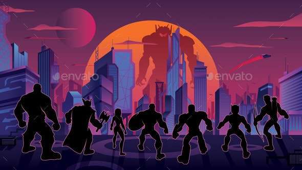 Super Team in Futuristic City - People Characters