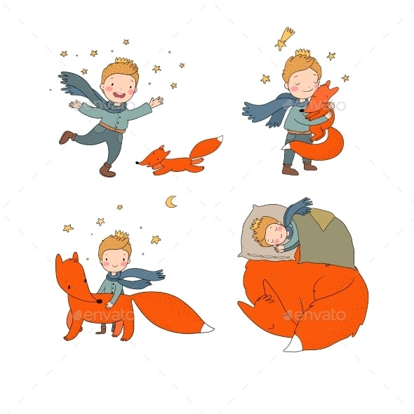 Boy and Foxes - Animals Characters