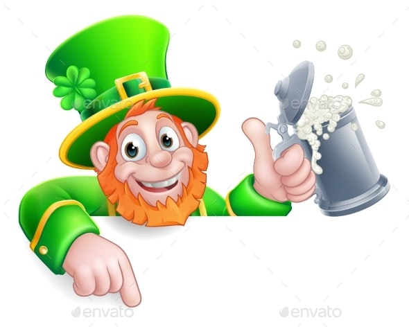 Leprechaun St Patricks Day Pointing Drink Cartoon - Miscellaneous Seasons/Holidays