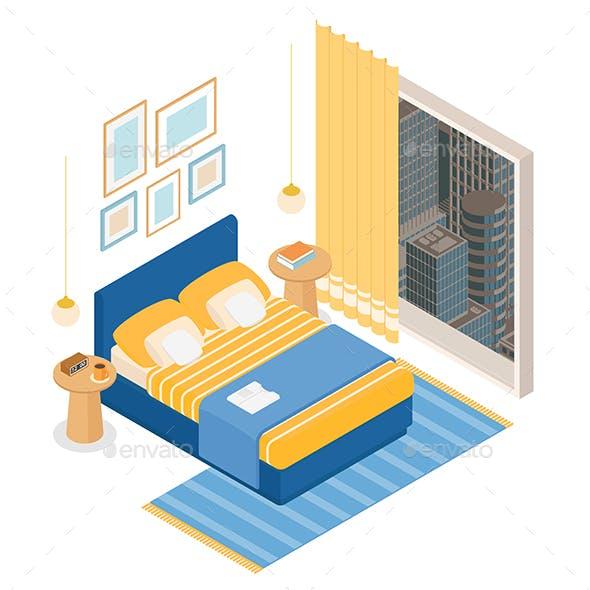 Isometric Hotel Bedroom