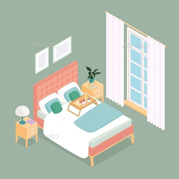 Isometric Bedroom with a Window