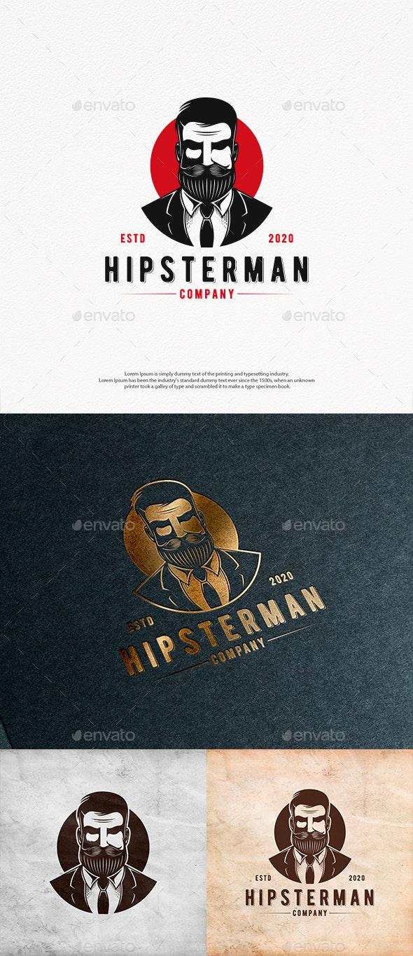 Hipster Man Logo Template - Humans Logo Templates