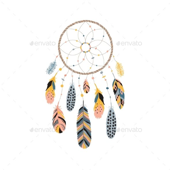 Dream Catcher with Feathers and Jewels