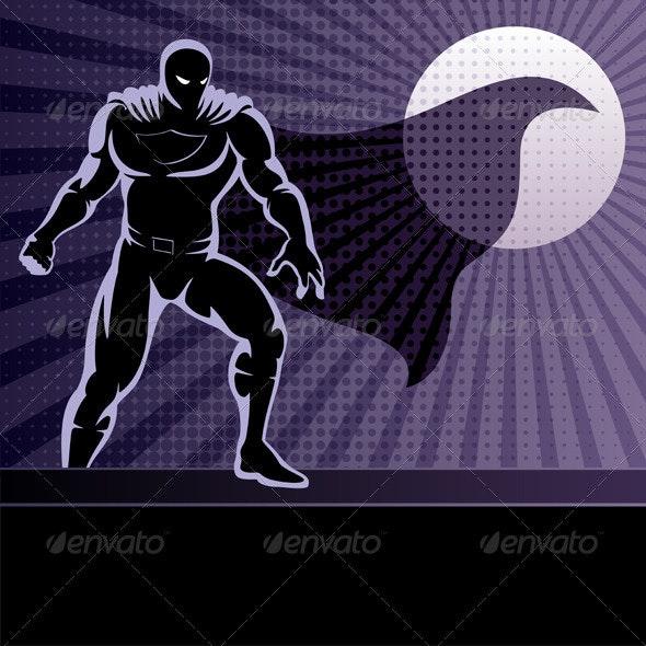 Superhero on Rooftop - Characters Vectors
