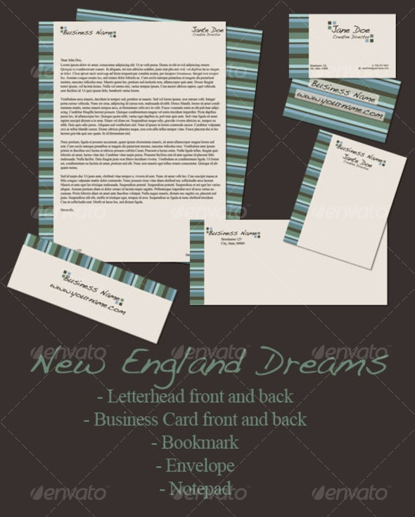 New England Dreams 5 Pack - Stationery Print Templates