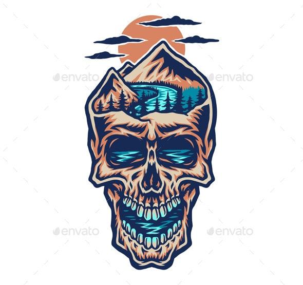 Mountain Head Skull - Tattoos Vectors